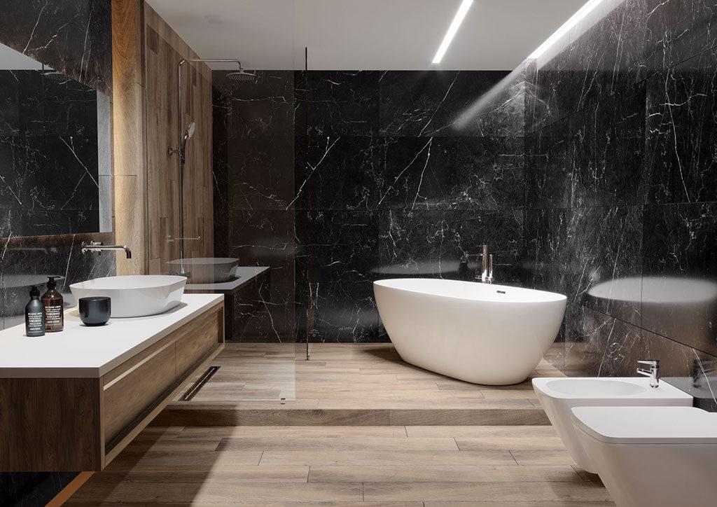 Urządzenie łazienki - ceramica limone płytki łazienkowe czarny marmur etnos