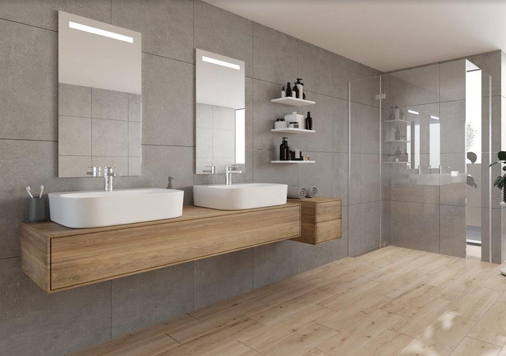 Płytki a'la deski na podłodze w łazience. Blog viverto.pl