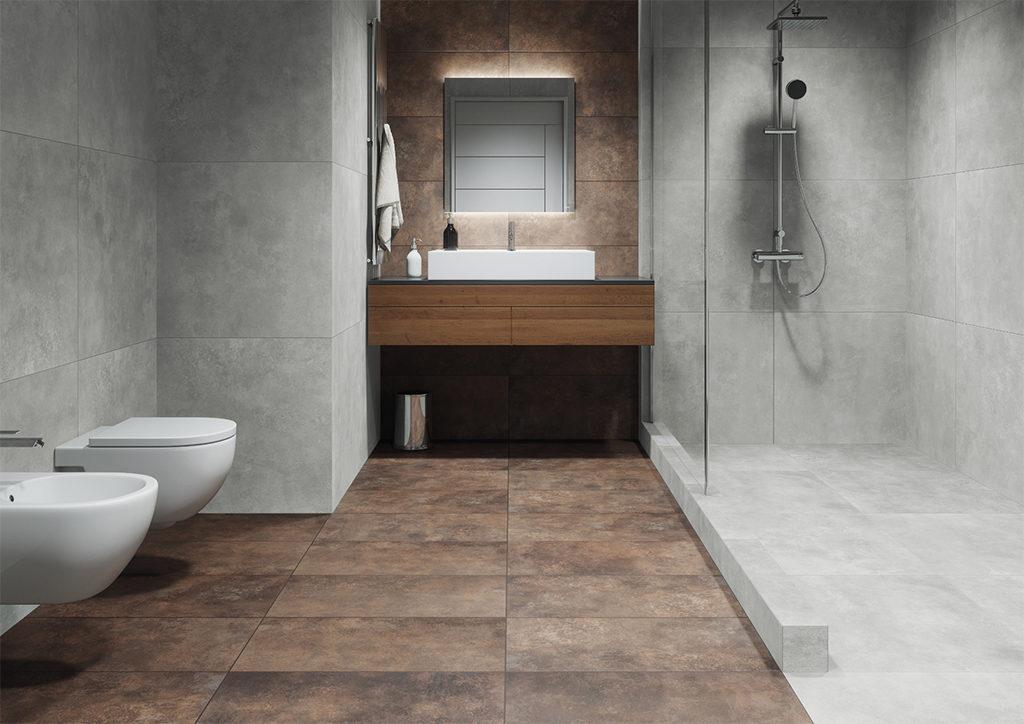 Industrialna łazienka z imitacja rdzy i betonu