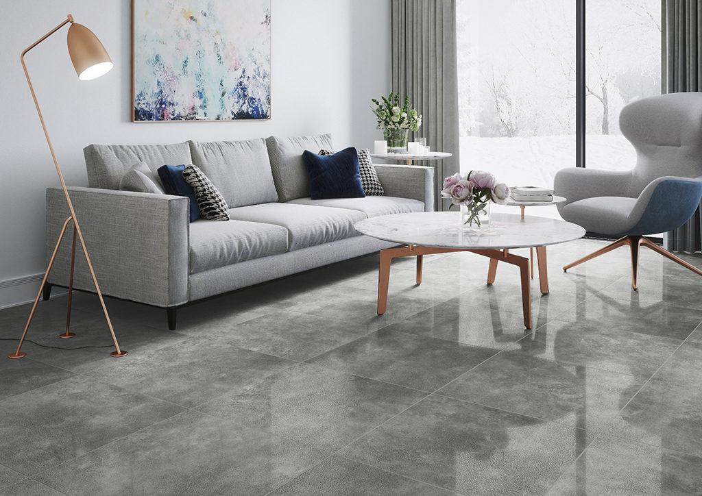 Płytki betonowe lappato w salonie w stylu minimalistycznym