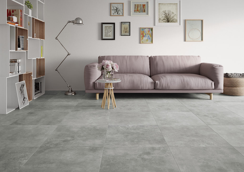 Minimalistyczny salon z szara podłogą