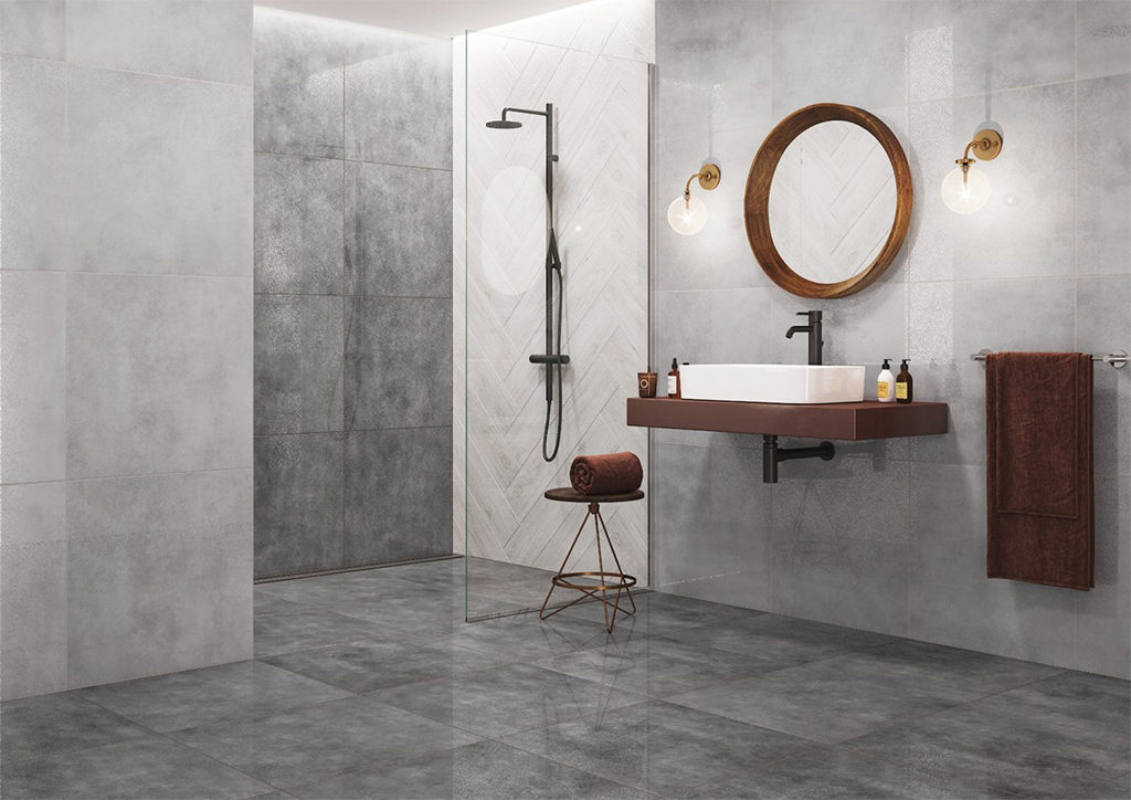 Minimalistyczna łazienka w delikatnych szarościach