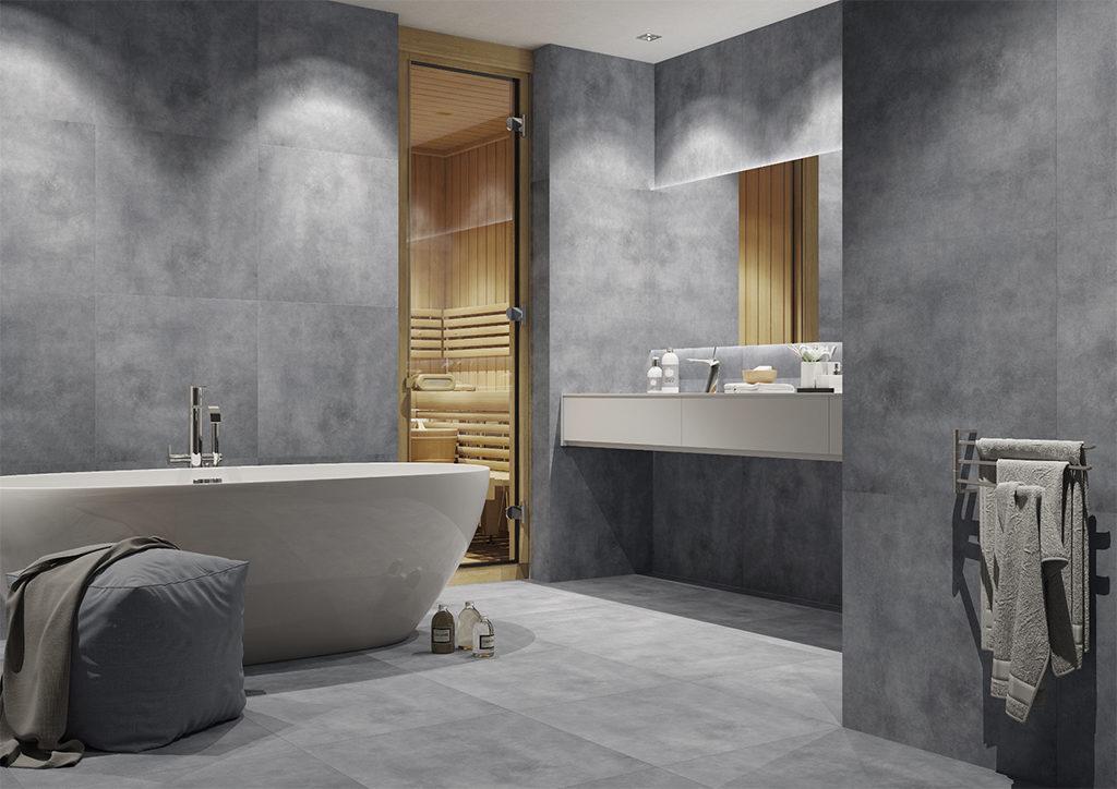 Łazienka w szarościach z dodatkiem drewna - moda na beton
