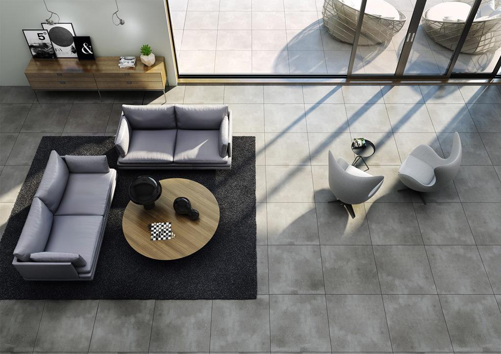 Podłoga imitujaca beton w salonie