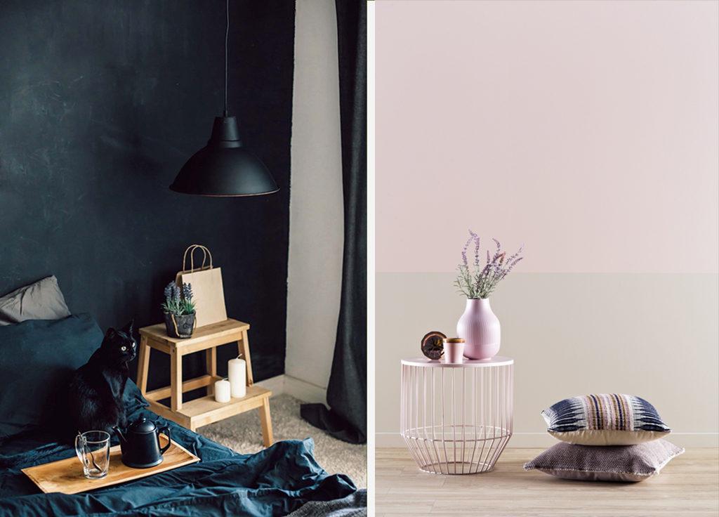 kontrastowe kolory farb w mieszkaniu