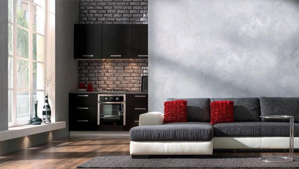 Industrialny beton w salonie na ścianie