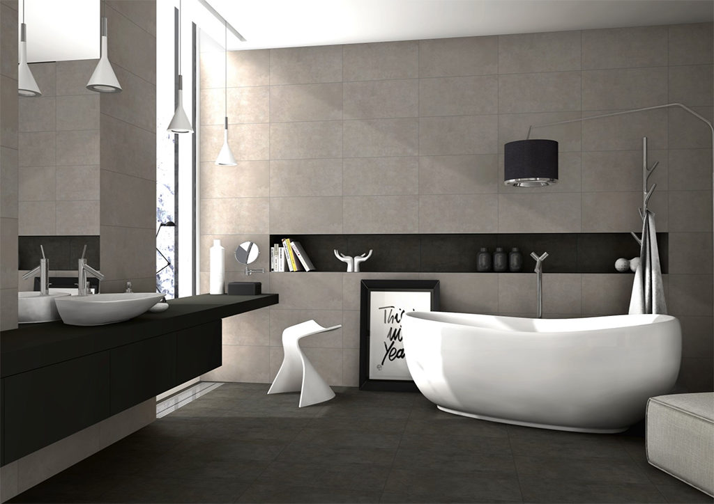Wizualizacja łazienki z betonowymi płytkami