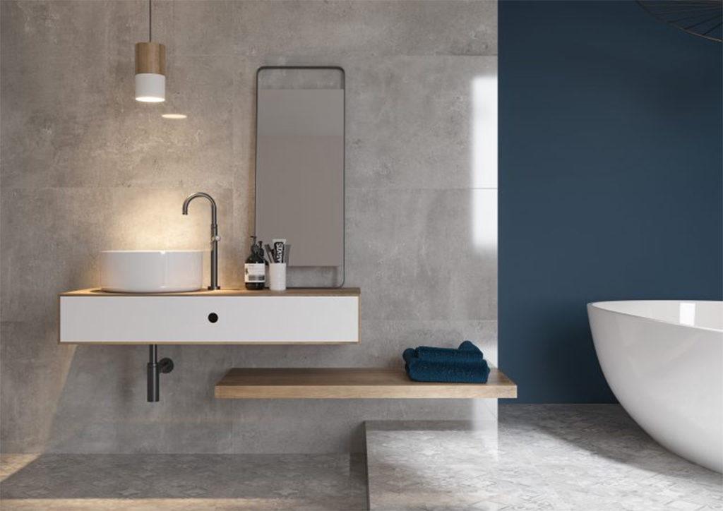 Beton w łazience na ścianie, nowoczesna łazienka