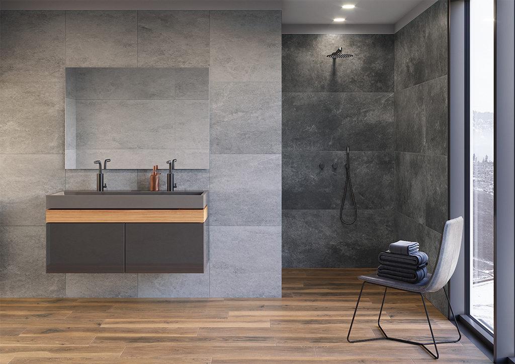 Płytki betonopodobne włazience pod prysznicem