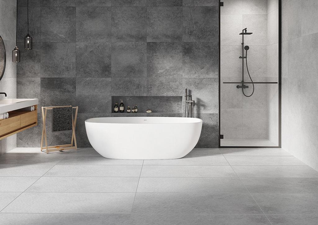 Szara łazienka w betonie - nowoczesna aranżacja