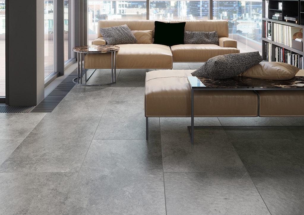industrialna podłoga w salonie - moda na beton 2021