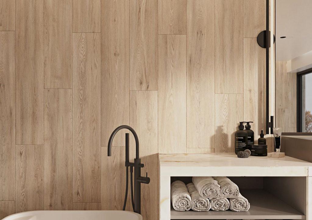 ściana drewnopodobna w łazience