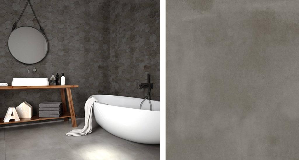 Szara łazienka z płytkami a'la beton