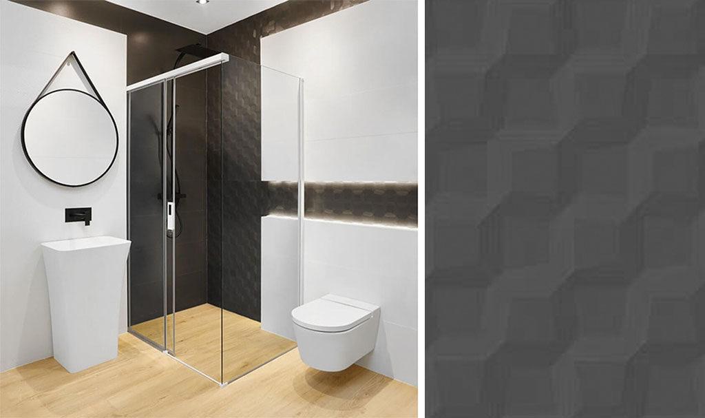 Czarno-biała łazienka z płytkami 3D pod prysznicem