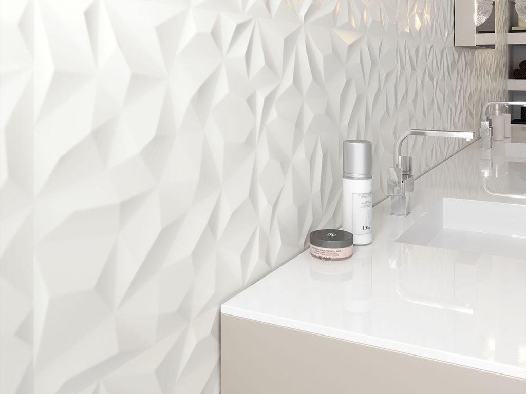 Białe płytki 3D w nowoczesnej łazience