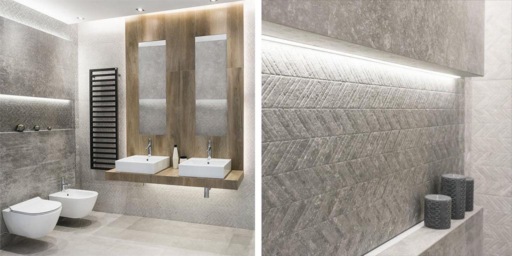 Industrialna łazienka w szarościach i drewnie z płytkami 3D