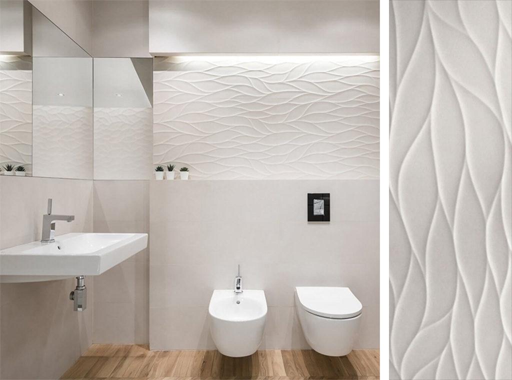 Imitacja fali na ścianie w łazience - intro marfil płytki 3D