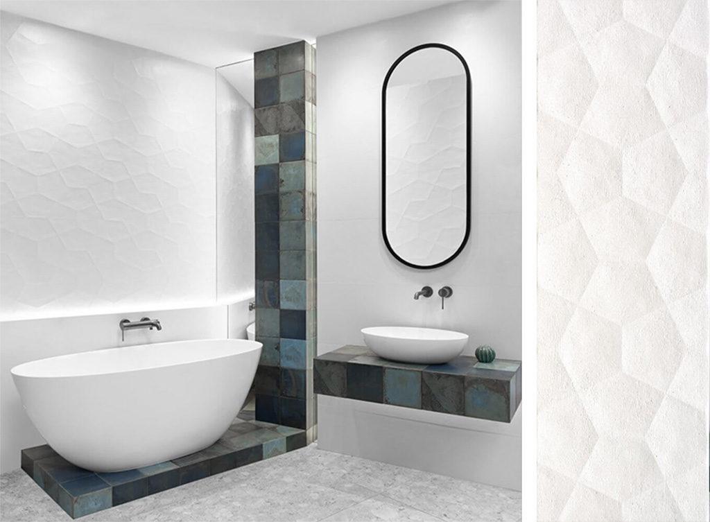 Białe płytki dekoracyjne z motywem 3D do jasnej łazienki