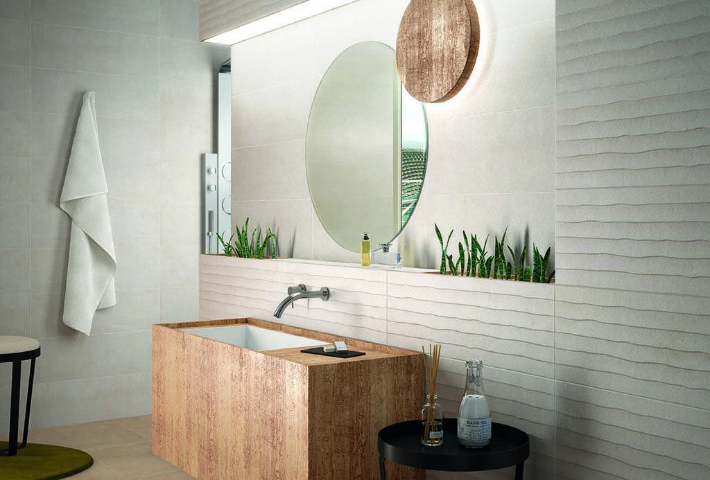 Egzotyczna łazienka w beżu ze ścianą 3D w paski