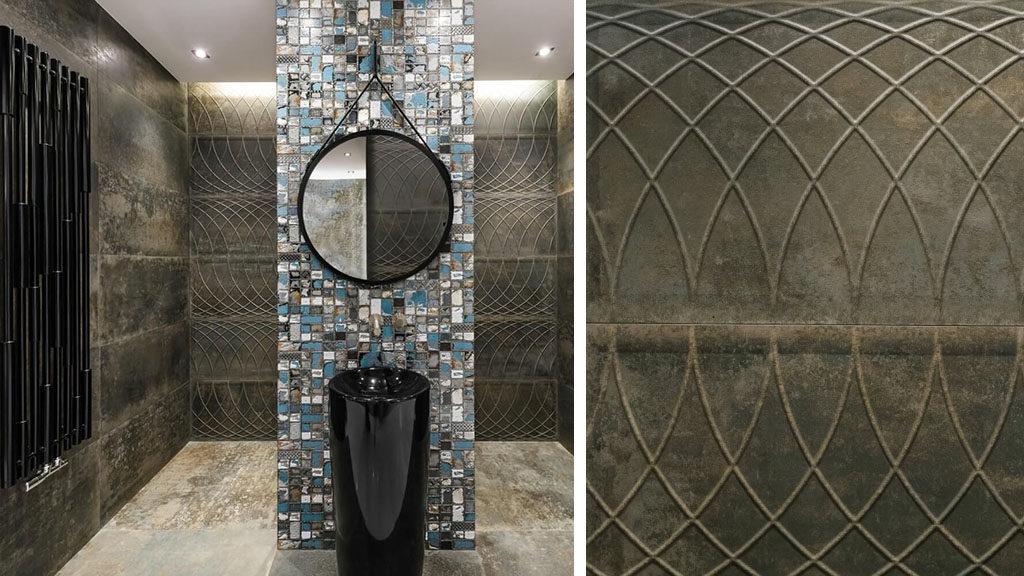 Industrialna łazienka z metaliczna płytką 3D Foundry Bronce