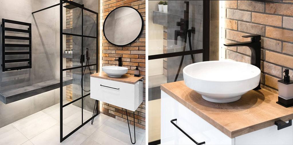 Loftowa łazienka w bloku z czarnymi dodatkami i cegłą
