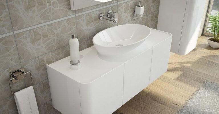 Asymetryczna umywalka nablatowa Geo Oval do modnej łazienki