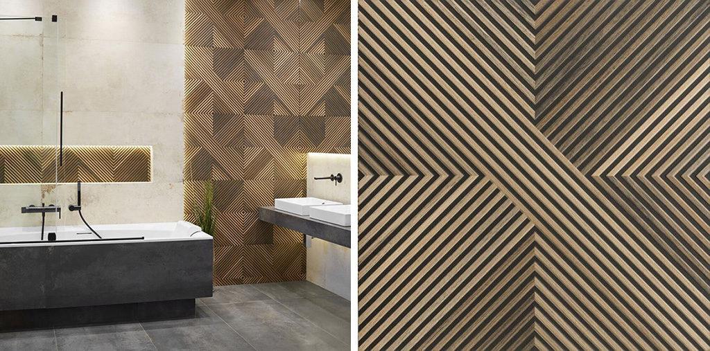 Drewnopodobna ściana w łazience - egzotyczne płytki 3D z geometrycznym motywem Tavola Decor Mix
