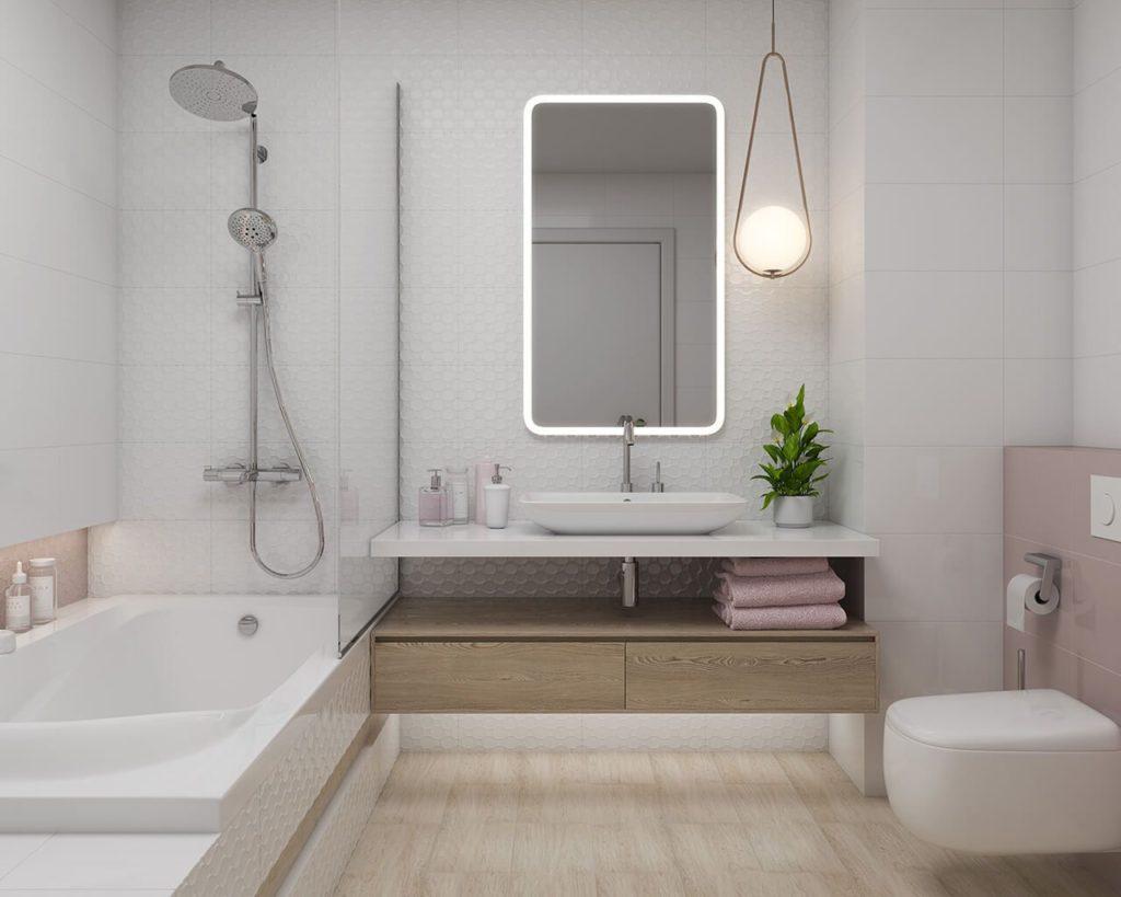 Płytki 3D w eleganckiej, jasnej łazience w bieli, drewnie i różu