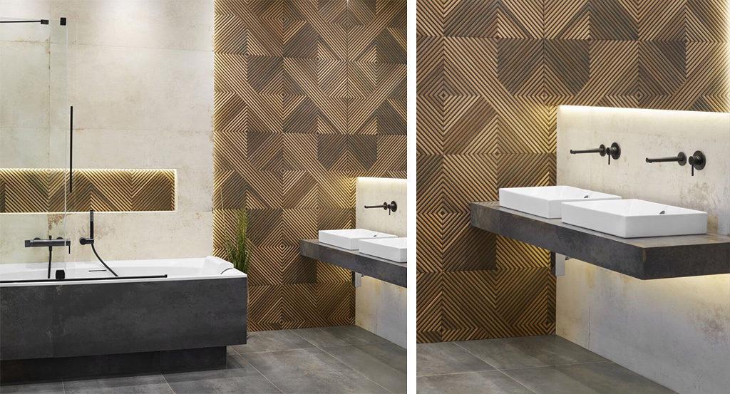 Łazienka z drewnem z czarną armaturą