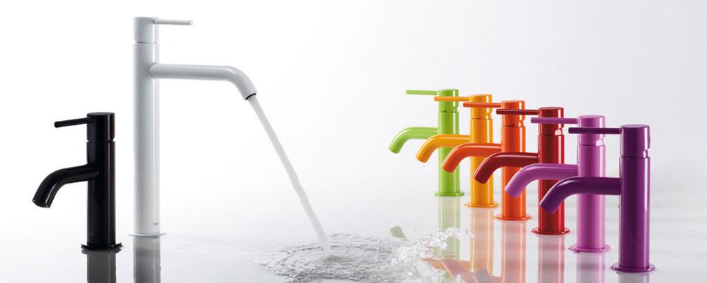 Kolorowe baterie umywalkowe