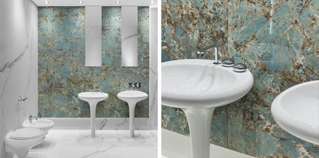 Zielona łazienka z płytkami wielkoformatowymi i nowoczesną armaturą Vitra