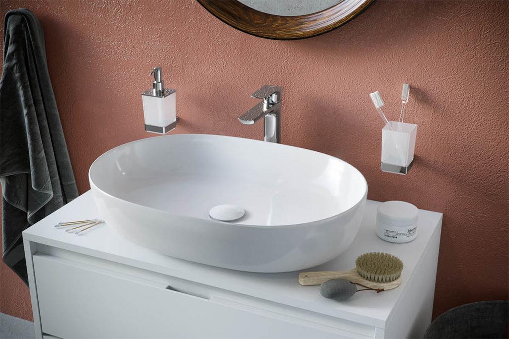 Umywalka nablatowa owalna z cienkim rantem do nowczesnej łazienki