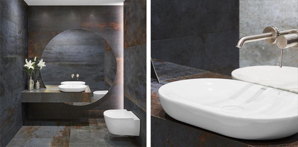 Umywalka nablatowa w awangardowej łazience w ciemnych kolorach
