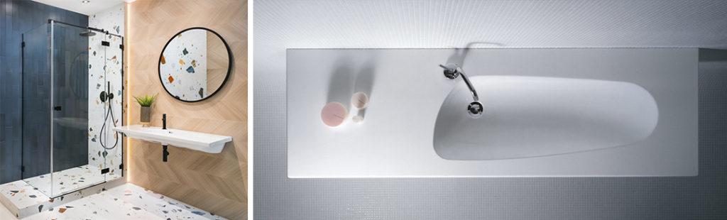 Szeroka umywalka ścienna z asumetryczną misą
