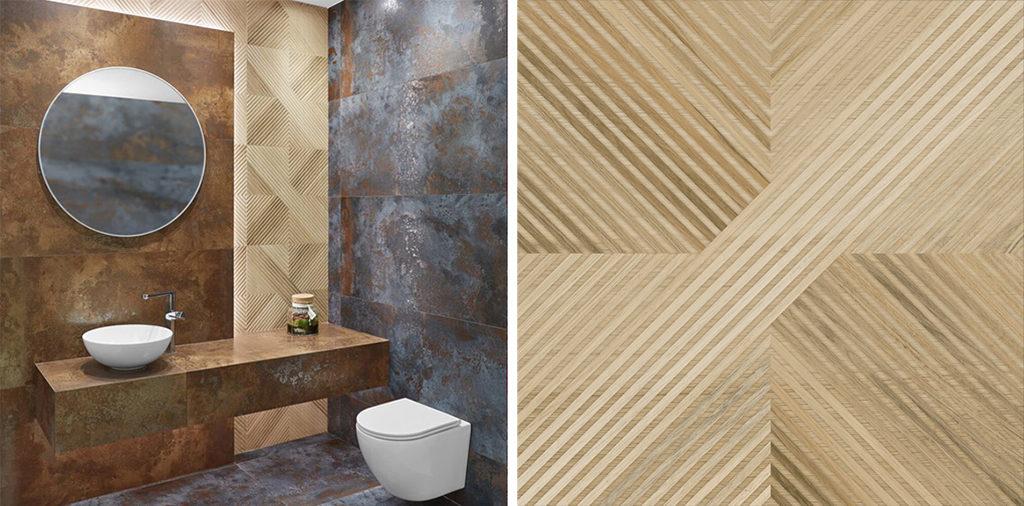 Łazienka z metalizyjąmi płytkami i dekorem drewnopodobnym 3D