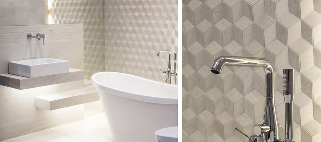 Ściana 3D w łazience przy wannie