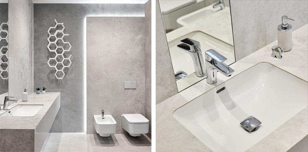 Umywalka podblatowa w szarej łazience w nowoczesnym stylu