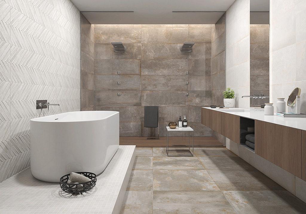 Loftowa łazienka z płytkami 3D w awangardowym wydaniu w kolorach brązu i bieli