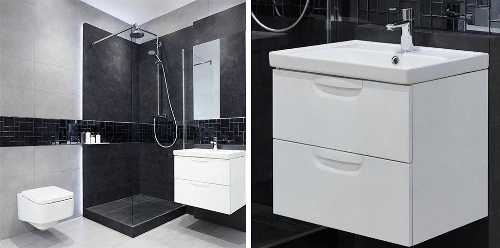 Czarna łazienka z elegancką armaturą
