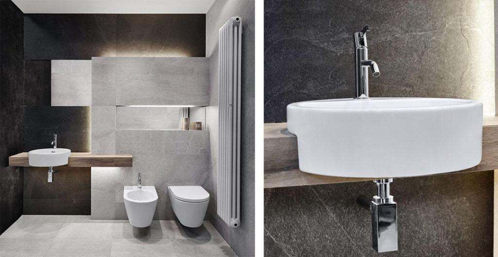 Umywalka półblatowa w szarej łazience w kamieniu