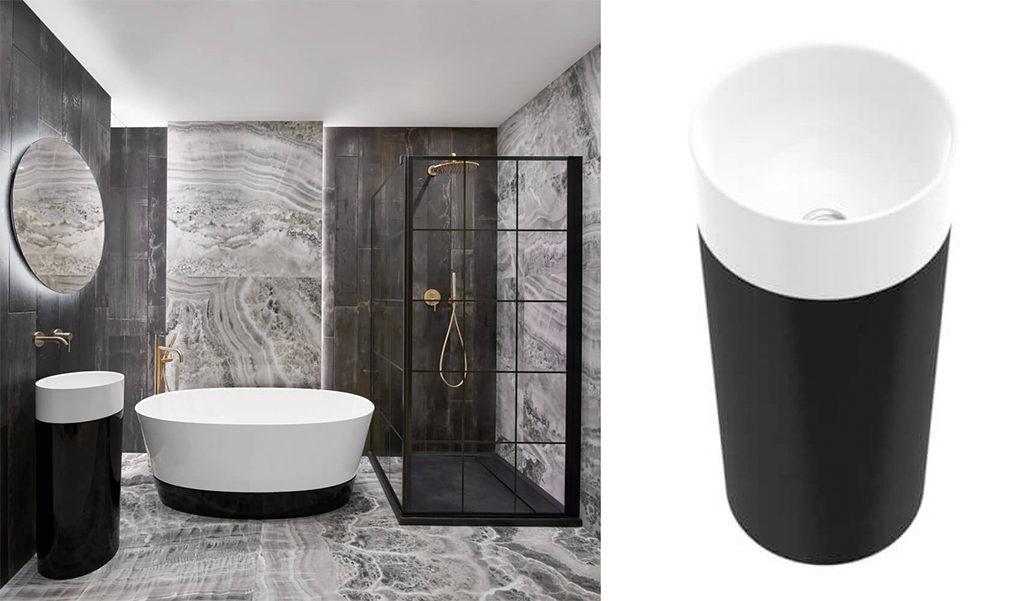Nowoczesna łazienka z płytkami imitującymi onyks i awangardową, złotą armaturą