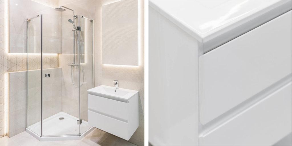 Beżowa łazienka z minimalistyczną armaturą i ciekawą mozaiką
