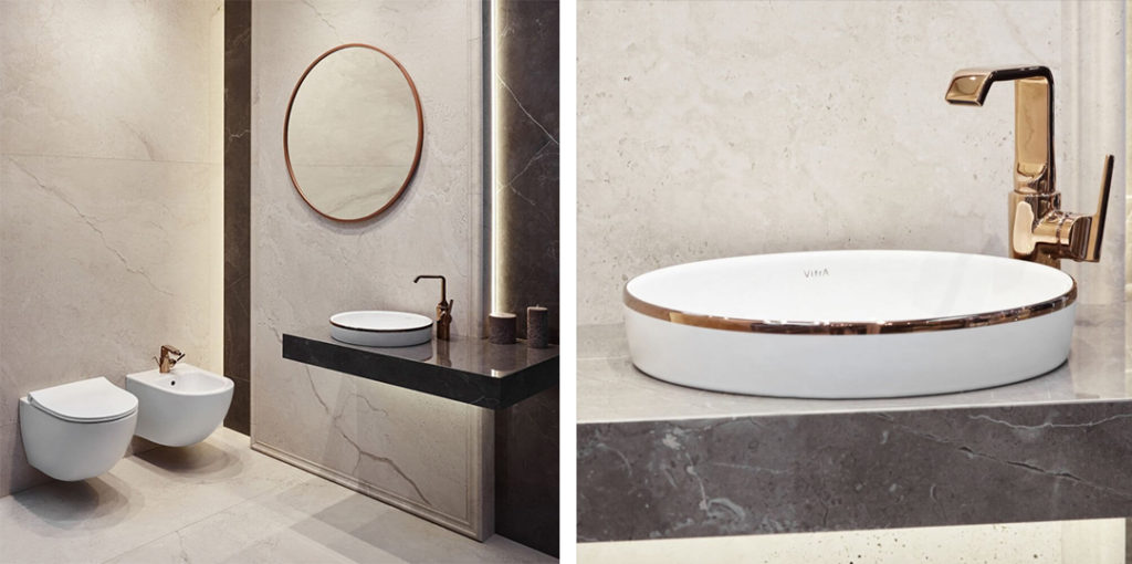 Beżowa łazienka w kamieniu z elegancką umywalką z miedzianym rantem