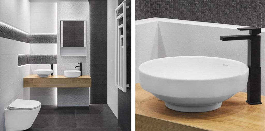 Aranżacja łazienki z umywalkami nablatowymi